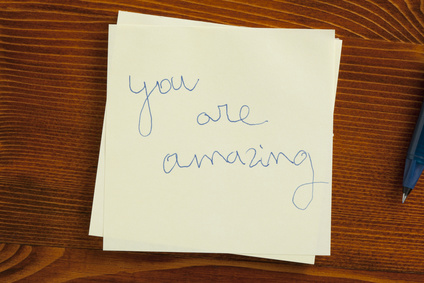 Sticky note with text you are amazing